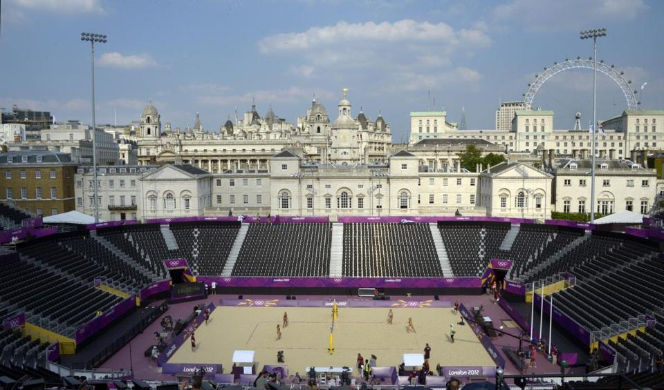 The beach volleyball stadium at Horse Guards Parade, seen two days before the start of the London 2012 Olympic Games.