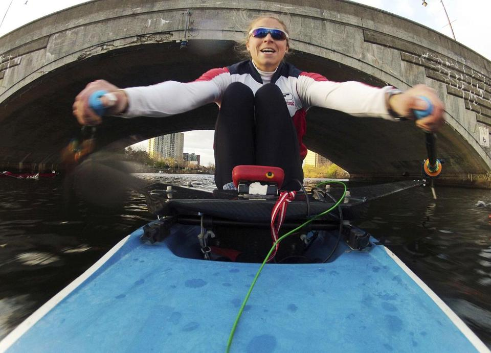 Gevvie Stone, navigating the Charles during practice, has bridged a generation by reaching the Olympics just as her mother did in 1976.
