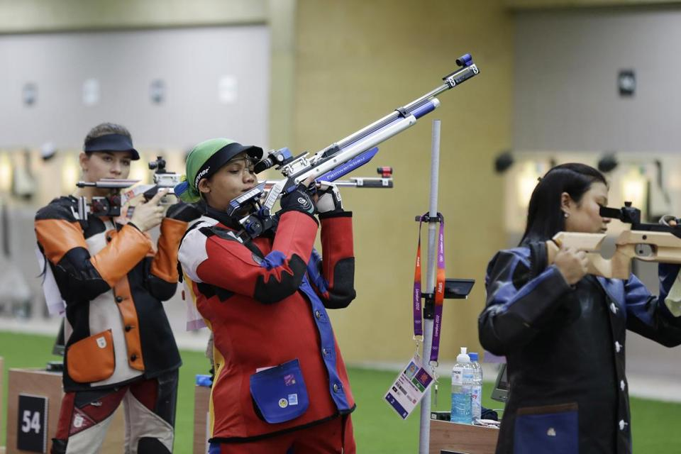 "Nur Suryani Mohd Taibi of Malaysia, who is eight months pregnant, finished 34th in the women's 10-meter air rifle competition. She said the baby was kicking ""three or four times'' during Saturday's qualifying round."
