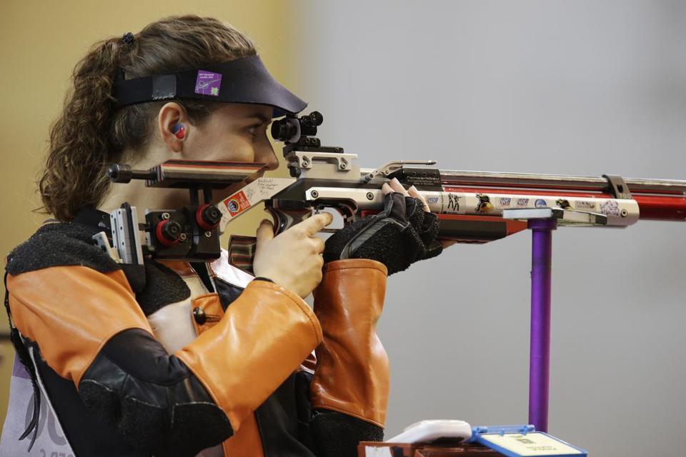 Sarah Scherer, fighting through an injured elbow, made the finals in the women's 10-meter air rifle, finishing seventh.