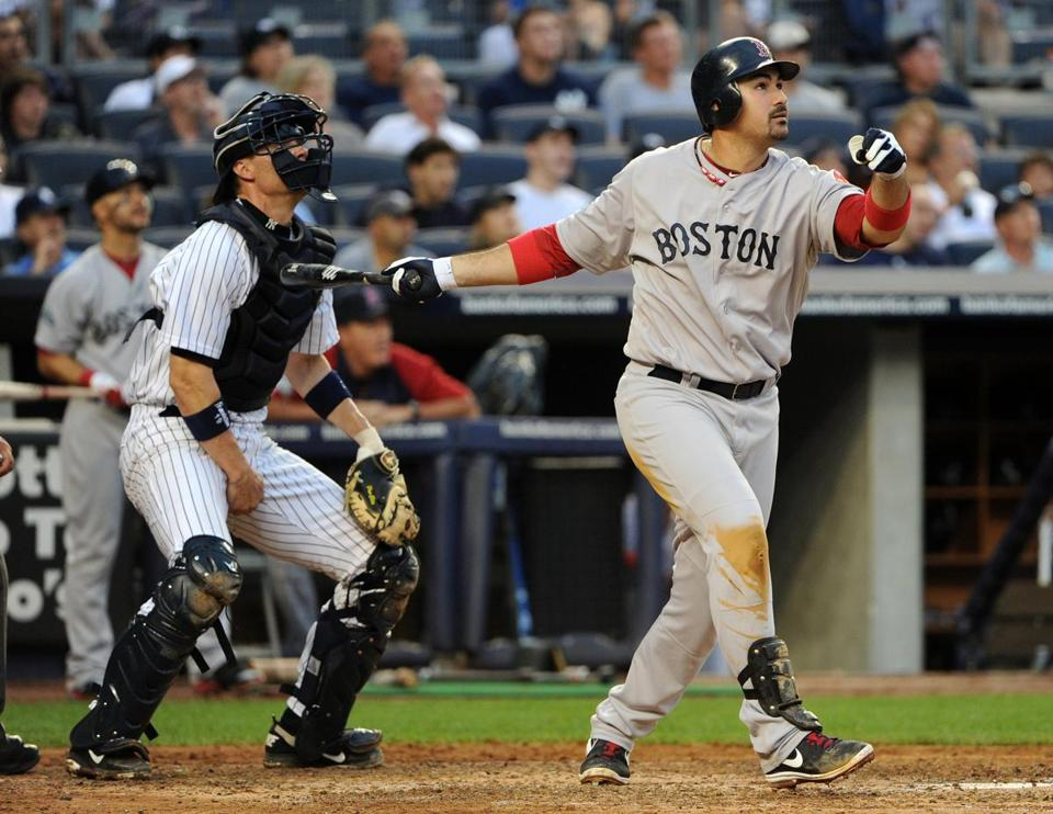 Adrian Gonzalez hit a three-run home run in the fifth inning against the Yankees in New York on Saturday.
