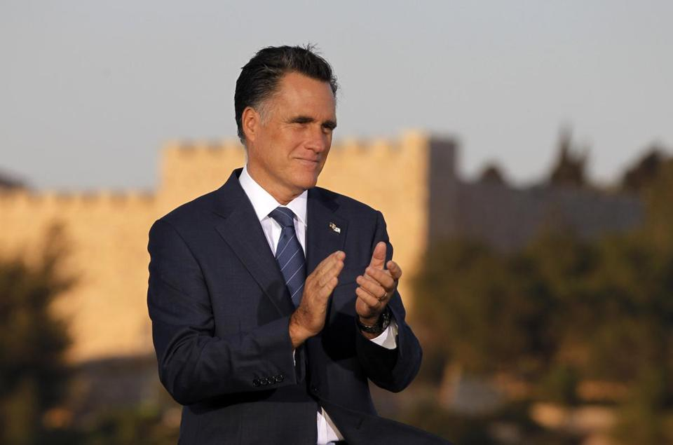 Mitt Romney spoke about foreign policy in Jerusalem on Sunday.