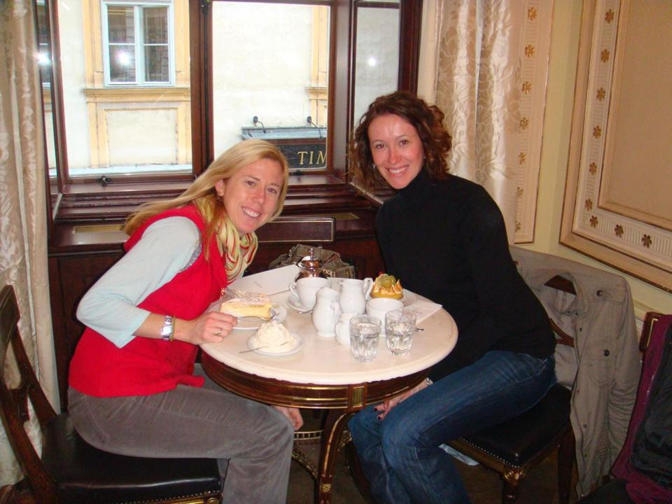The author, left, and Lesley Strong with cake and coffee at Café Demel in Vienna.