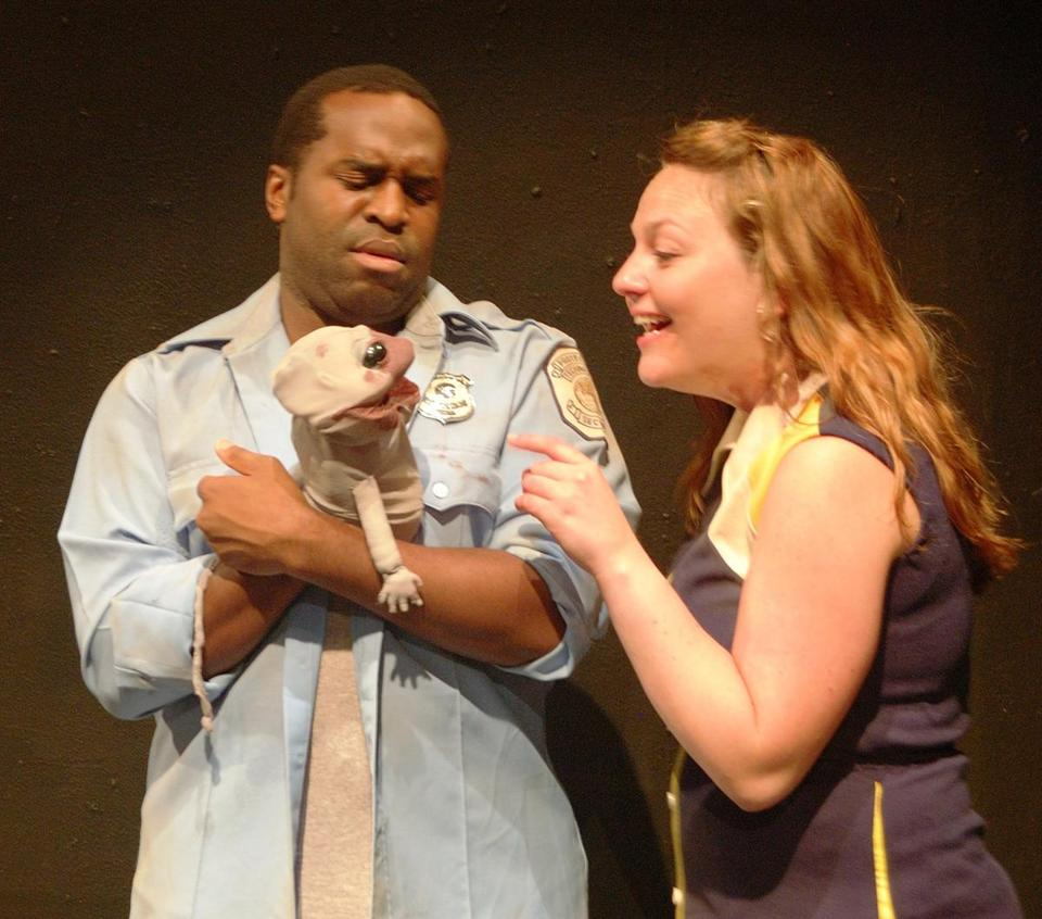 "Omar Robinson and Greer Rooney admire Baby Zombie in ""Terror at BPT,'' the second of two one-act plays."