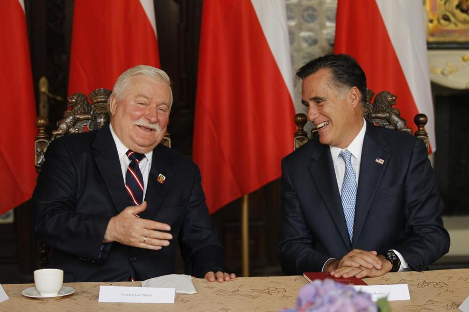Mitt Romney met with Poland's former president, Lech Walesa, in Gdansk Monday.