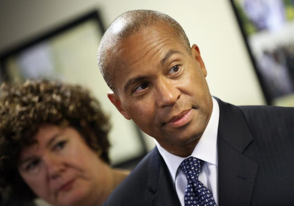 Governor Deval Patrick speaks about the crime bill during a visit to Roxbury July 31.