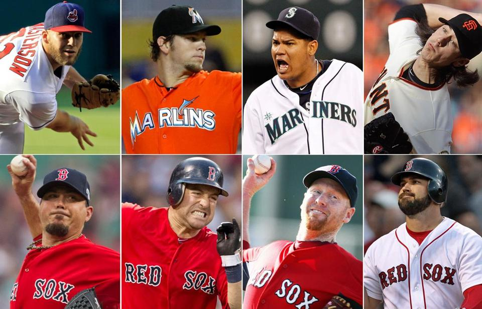 Clockwise from top left, Mariners pitcher Felix Hernandez, Marlins pitcher Josh Johnson, Indians pitcher Justin Masterson, Giants pitcher Tim Lincecum, Red Sox catcher Kelly Shoppach, Red Sox pitcher Aaron Cook, Red Sox infielder Nick Punto, and Red Sox catcher Josh Beckett.