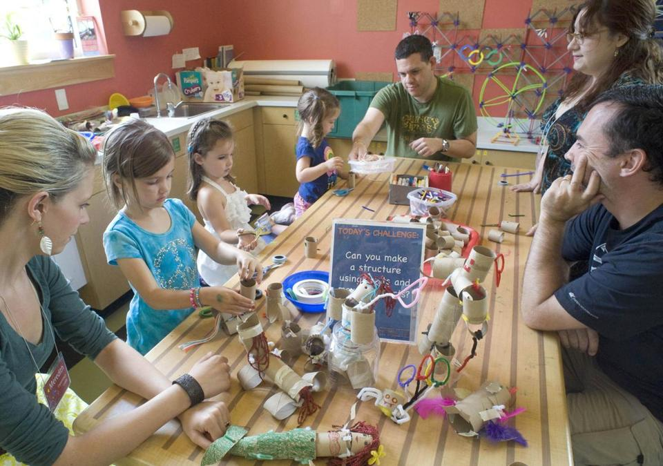 Staff at the Children's Museum in Dover, N.H., helped youngsters and parents create sculptures from cardboard tubes.
