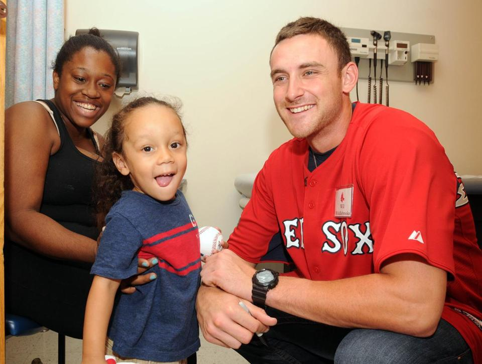 Will Middlebrooks visiting Dante at Boston Children's Hospital.
