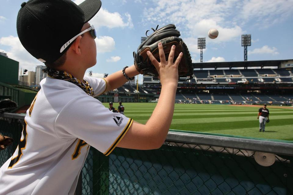 Garrett Greco, 9, of Pittsburgh, before the Pirates-Marlins game at PNC Park on July 22, 2012.