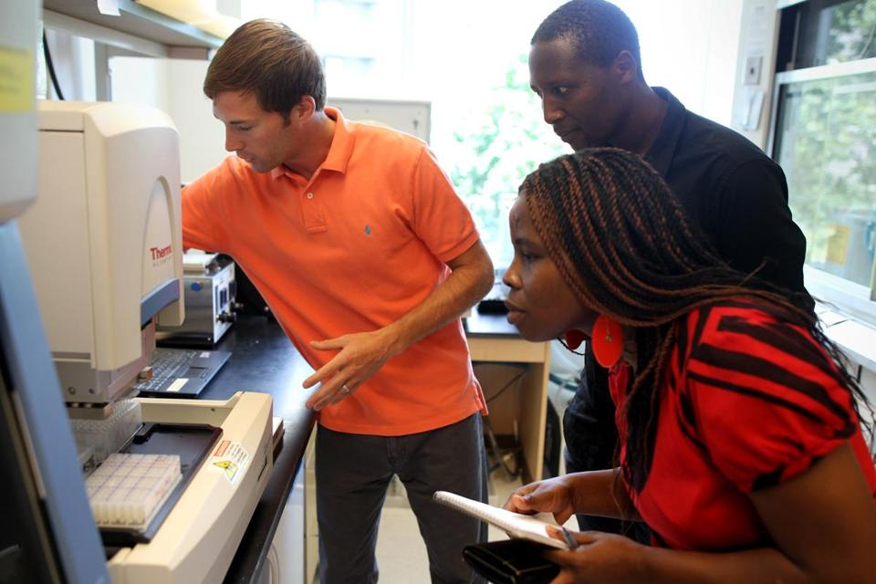 Bryan Krastins led Drs. Mildred Nawiri and Steven Runo on a Thermo Fisher tour