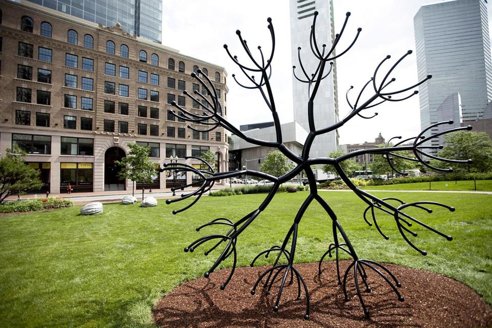 "James Surls's ""Walking Flower Times the Power of Five."" is on on parcel 21."