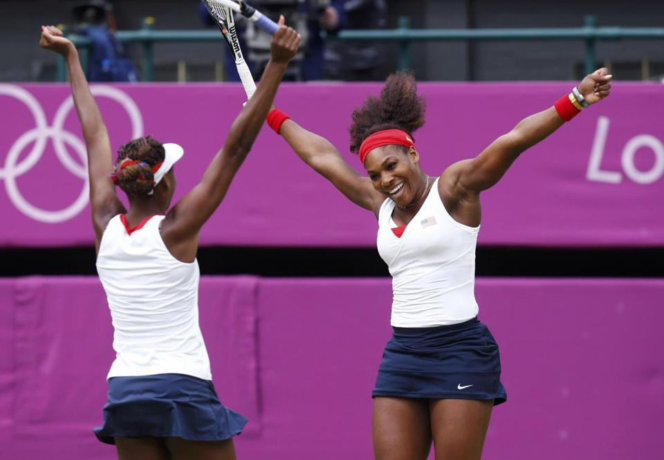 Sisters Serena Williams, right, and Venus Williams of the US won the women's tennis doubles competition after also winning four years ago in Beijing.