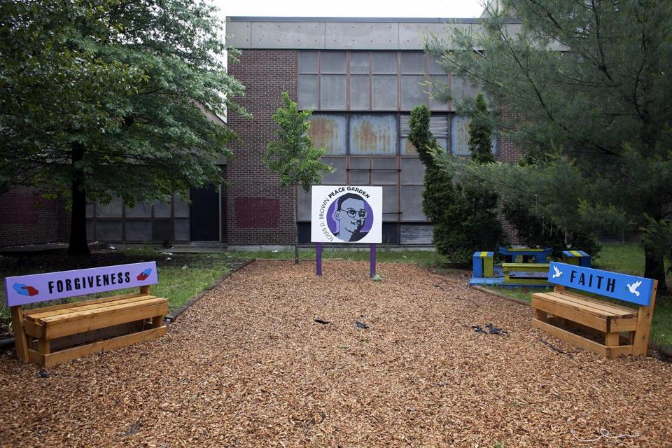 The Louis D. Brown Peace Garden at the John Marshall Elementary School in Dorchester