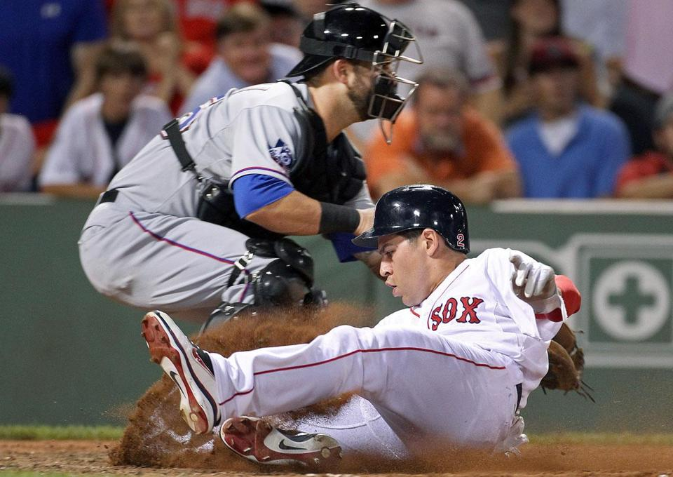 Jacoby Ellsbury hit paydirt in the eighth inning when he scored on a double by Carl Crawford, one of three runs the Red Sox scored in the inning.