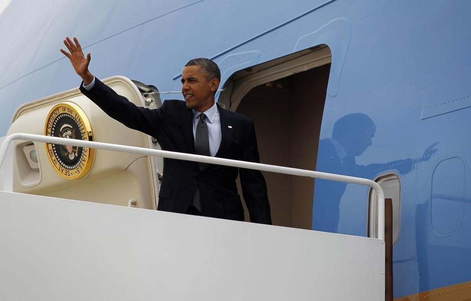 President Obama waved as he boarded Air Force One before his departure from Andrews Air Force Base, Md.,on  Wednesday.