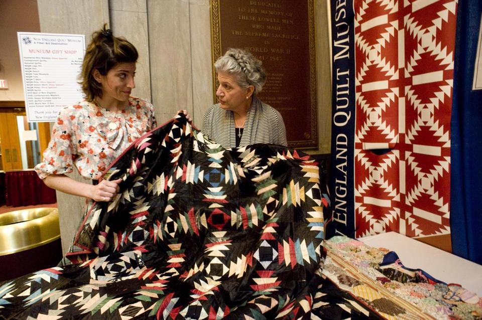 Marianne Fons (right) and her daughter, Mary, at the Lowell quilt fest.