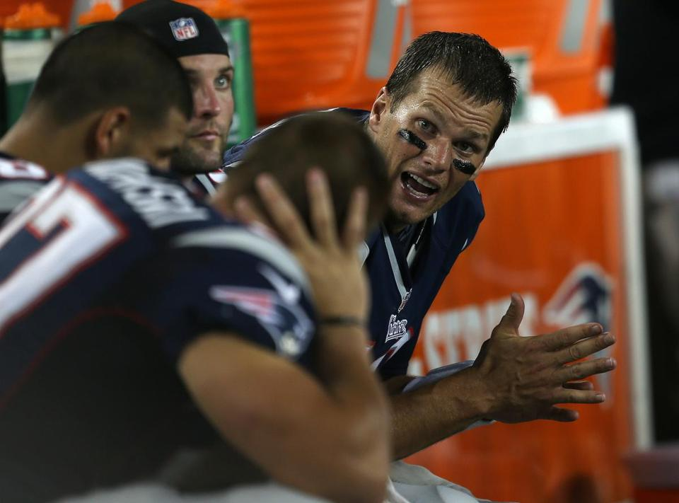 Quarterback Tom Brady only saw action on the game's first two series but he had plenty to say to his receiving corps.