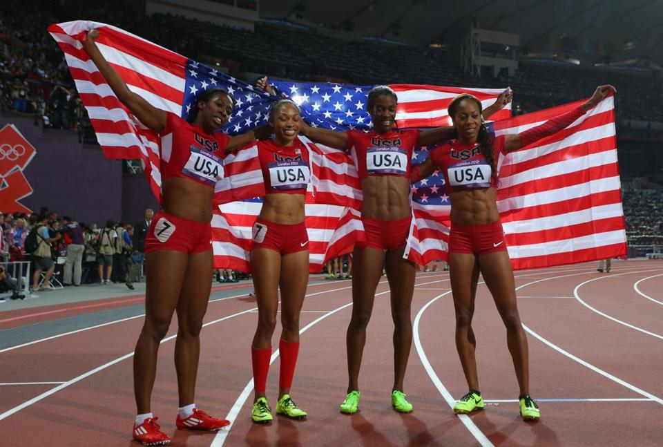 From left, Francena McCorory, Allyson Felix, DeeDee Trotter, and Sanya Richards-Ross of the United States celebrated winning gold in the women's 4x400-meter relay final.