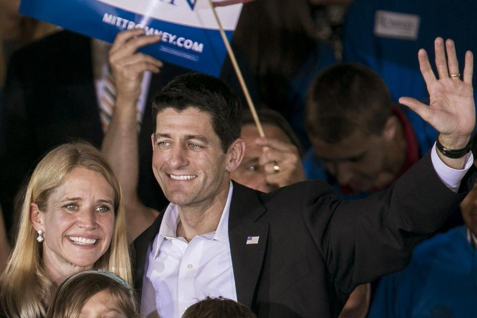 Paul Ryan and his wife Janna Ryan appeared at a campaign rally with Mitt Romney Saturday in Manassas, Va., following the announcement that Ryan will be Romney's vice presidential running mate.