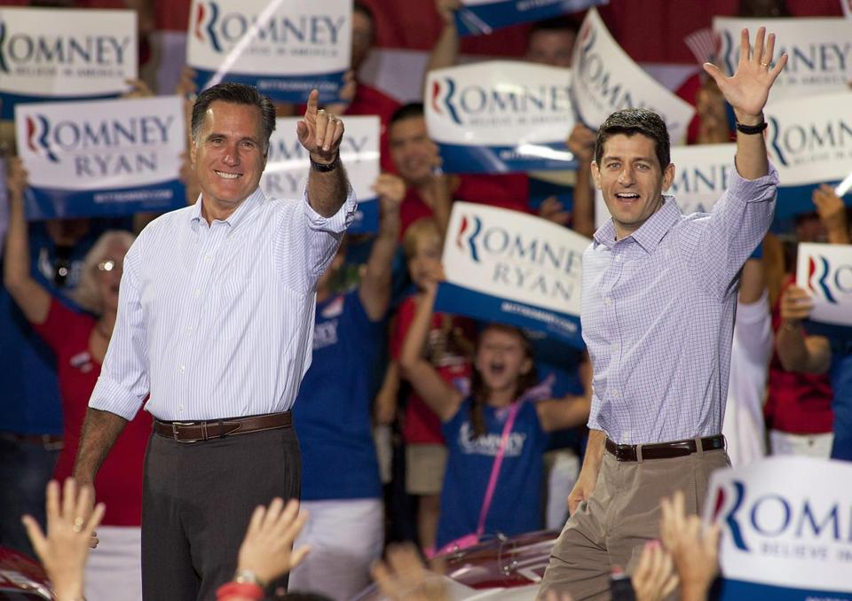 Mitt Romney, left, and his vice presidential running mate Representative Paul Ryan, R-Wis., spoke at a rally Sunday in Mooresville, N.C.