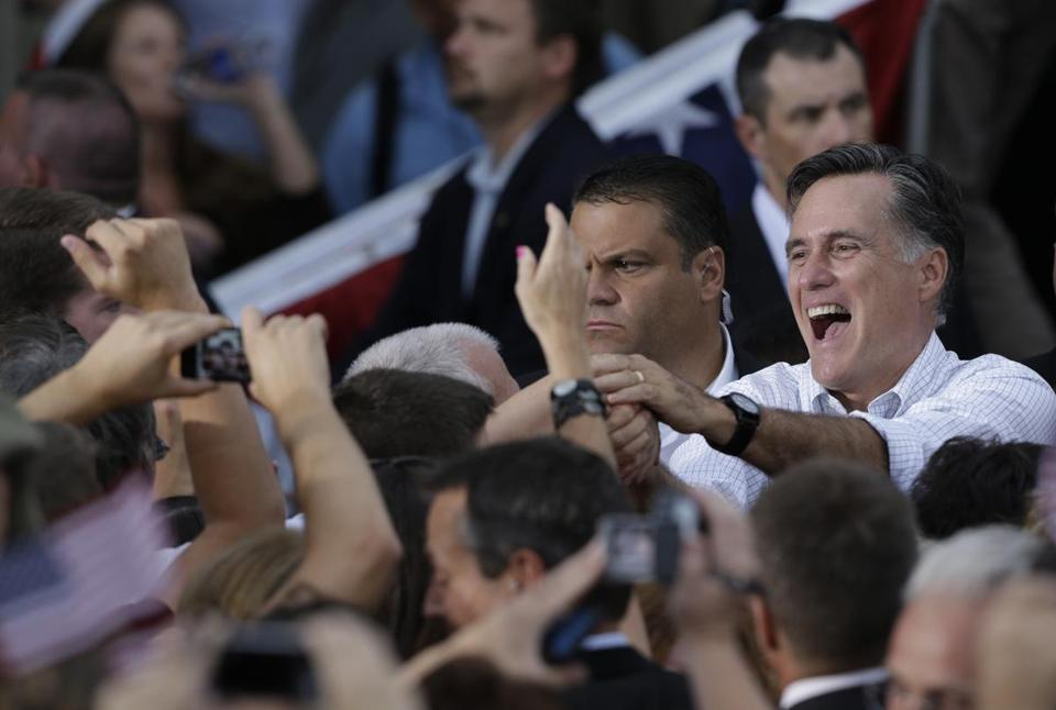 Mitt Romney greeted supporters in Waukesha, Wis.