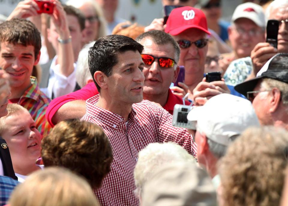 Representative Paul Ryan, Republican vice presidential candidate, campaigned at the Iowa State Fair in Des Moines.