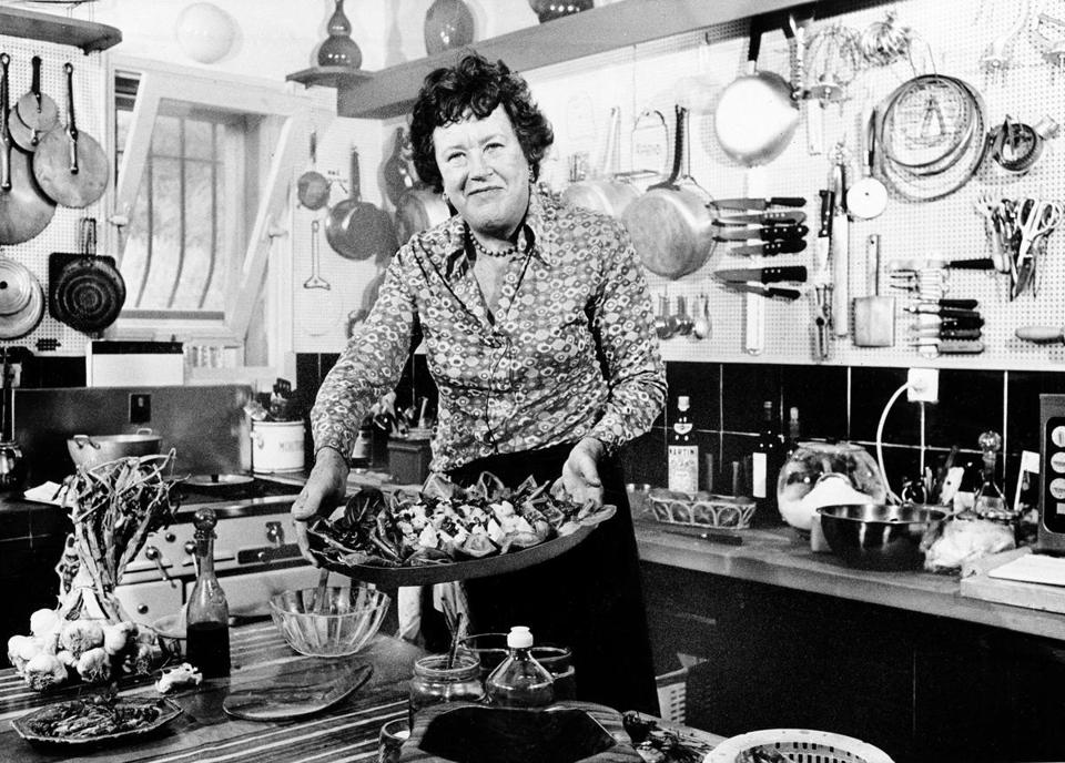 Julia Child in the kitchen of her vacation home in Grasse, southern France.