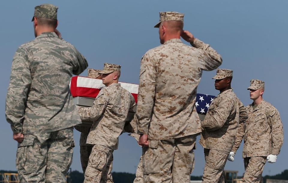 The remains of Marine Lance Corporal Gregory T. Buckley arrived at Dover Air Force Base on Monday.