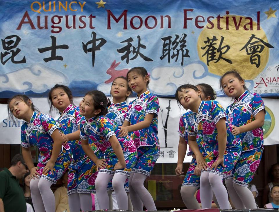 Young dancers performed a Chinese folk dance at last year's August Moon Festival in Quincy. This year's celebration takes place Sunday along Hancock Street.