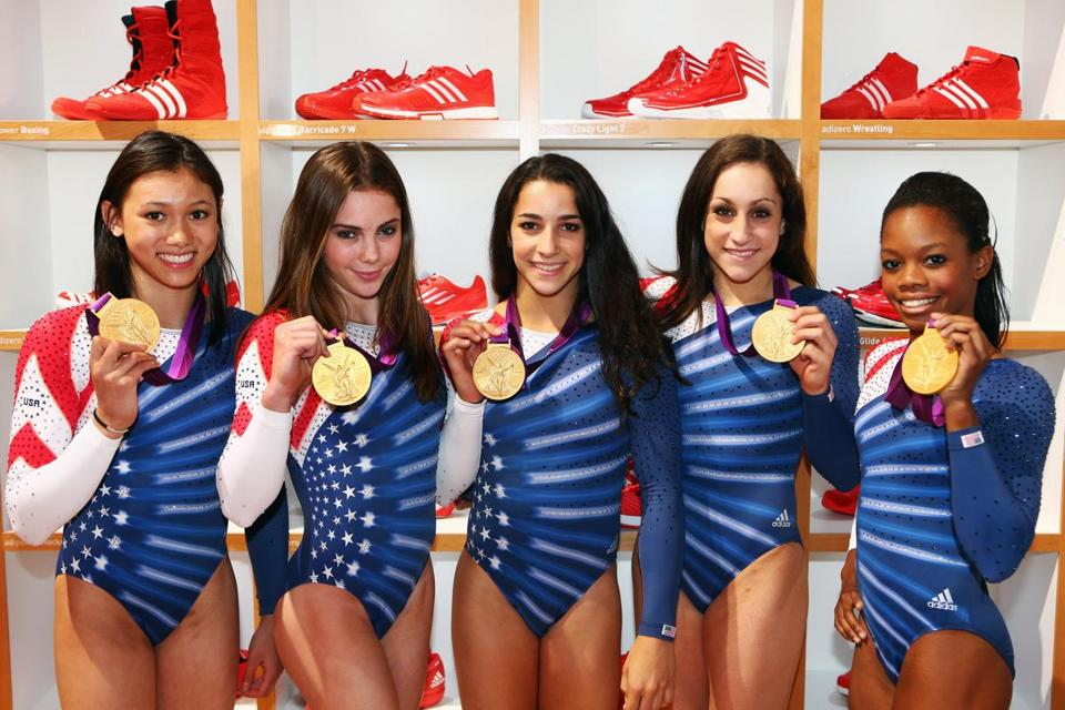 US women's gymnastics had a golden experience thanks to (from left) Kyla Ross, McKayla Maroney, Aly Raisman, Jordyn Wieber, and Gabby Douglas.