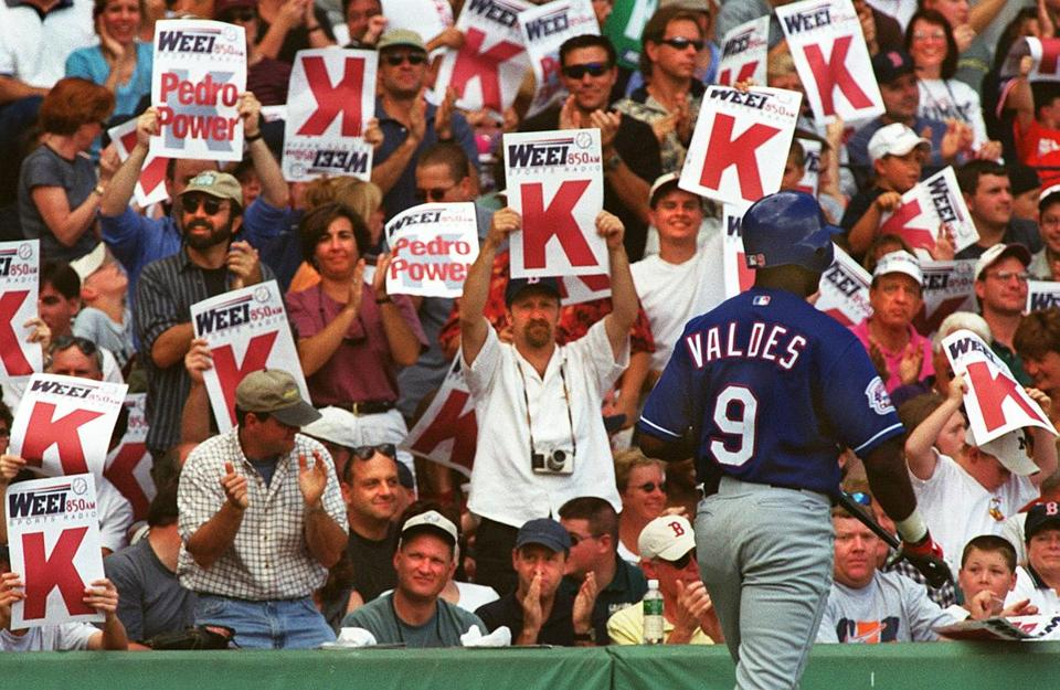 Pedro Valdes walked through a sea of K signs after becoming one of Pedro Martinez's 10 strikeout victims.