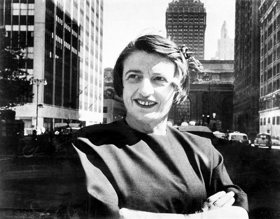 Ayn Rand, Russian-born American novelist, is shown in Manhattan with the Grand Central Terminal building in the background in 1962.