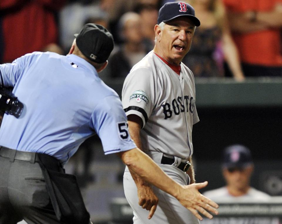 Bobby Valentine also gets the heave-ho from plate umpire Mike Everitt after Adrian Gonzalez was ejected in the eighth.