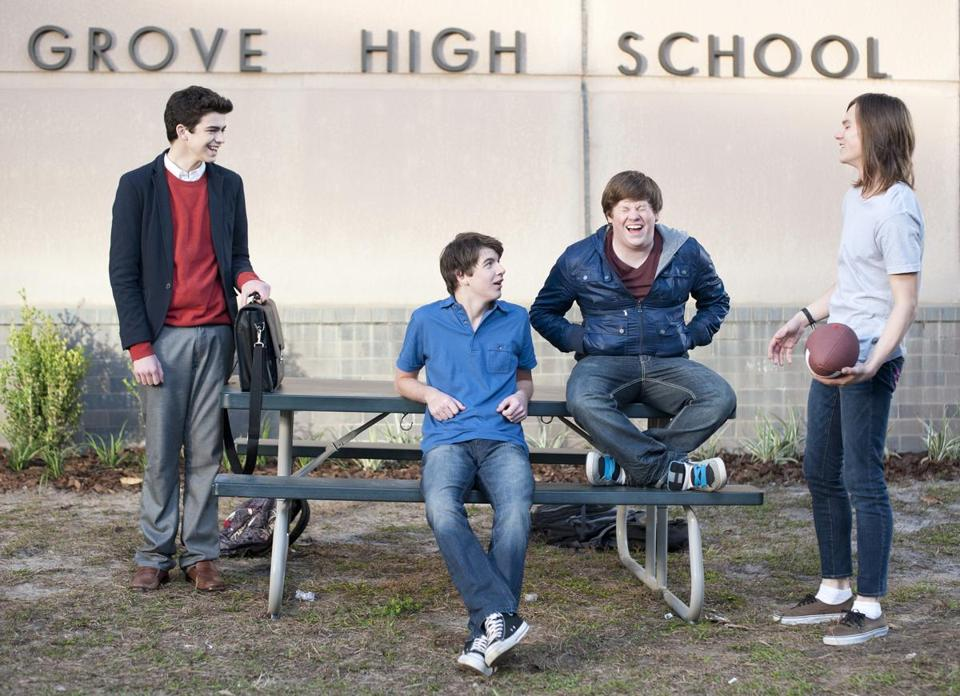 "From left: Joey Pollari, Bubba Lewis, Zack Pearlman, and Mark L. Young are ""The Inbetweeners."""