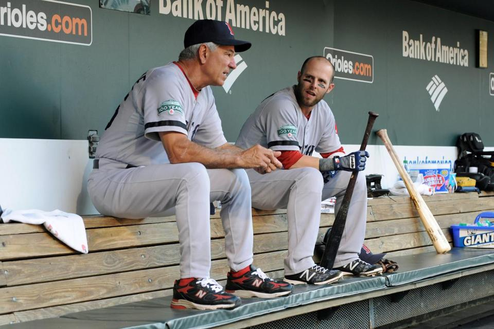 Bobby Valentine and Dustin Pedroia have a dugout chat before Thurs­day night's game, which was attended by the Red Sox owners.