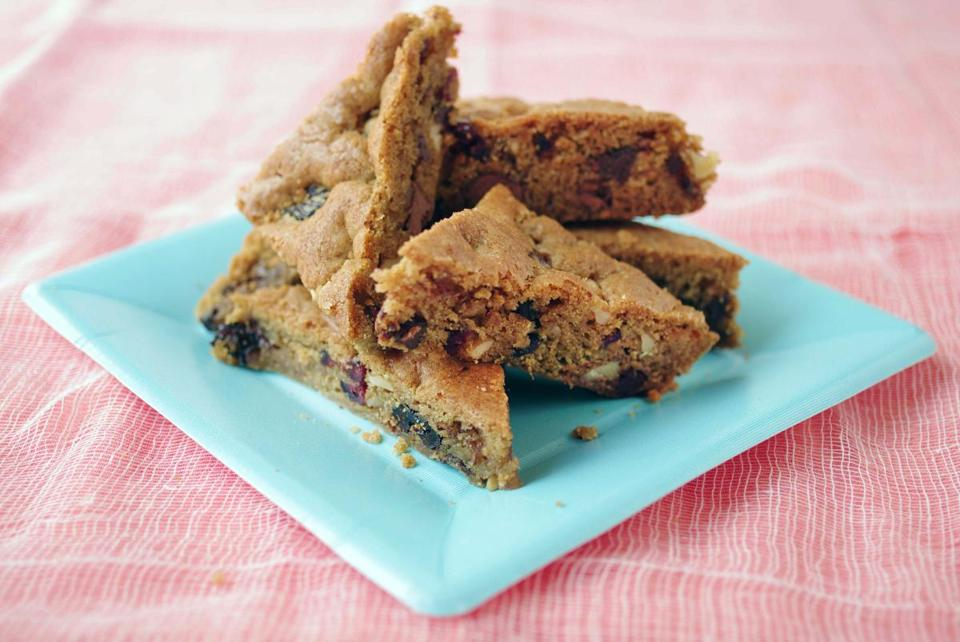 Lisa Yockelson's recipe for chunky-fruity blondies.