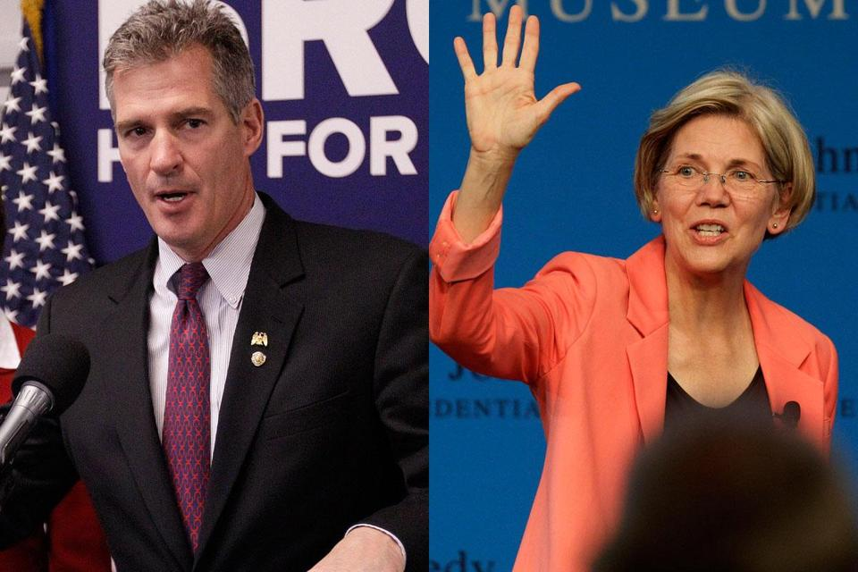 "Senator Scott Brown and Elizabeth Warren hailed the work of the pact that they reached. Brown called it a mark of ""two good people."""