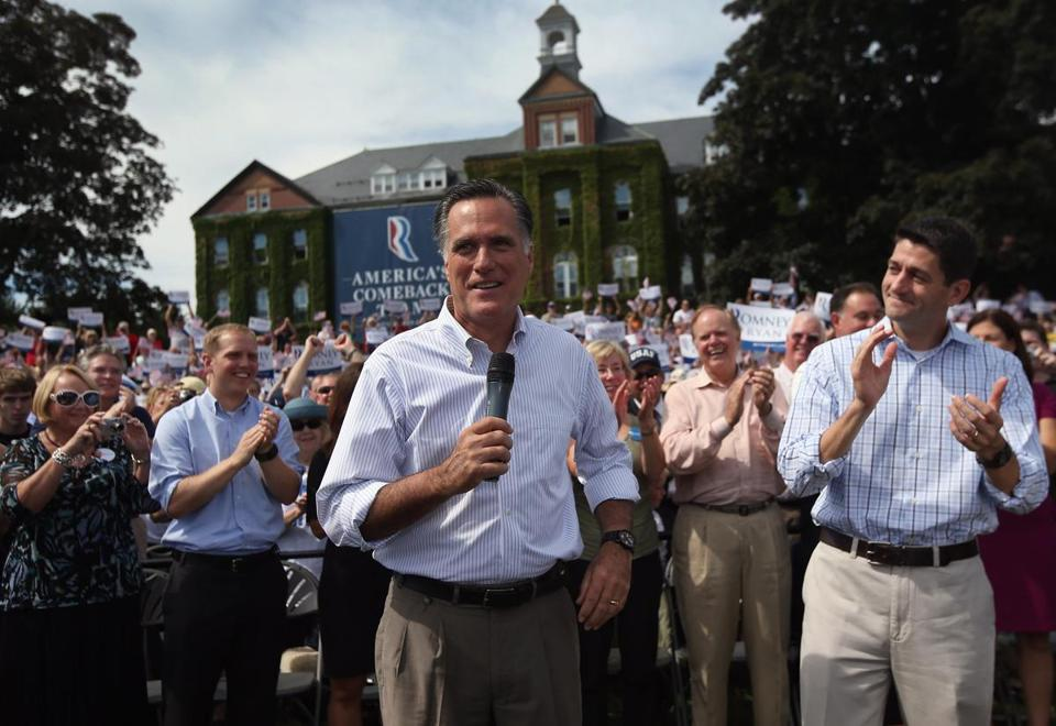 Republican presidential candidate Mitt Romney and his running mate, Rep. Paul Ryan, held a Town Hall-style event in Manchester, N.H. just two days after President Obama made campaign stops in the state.