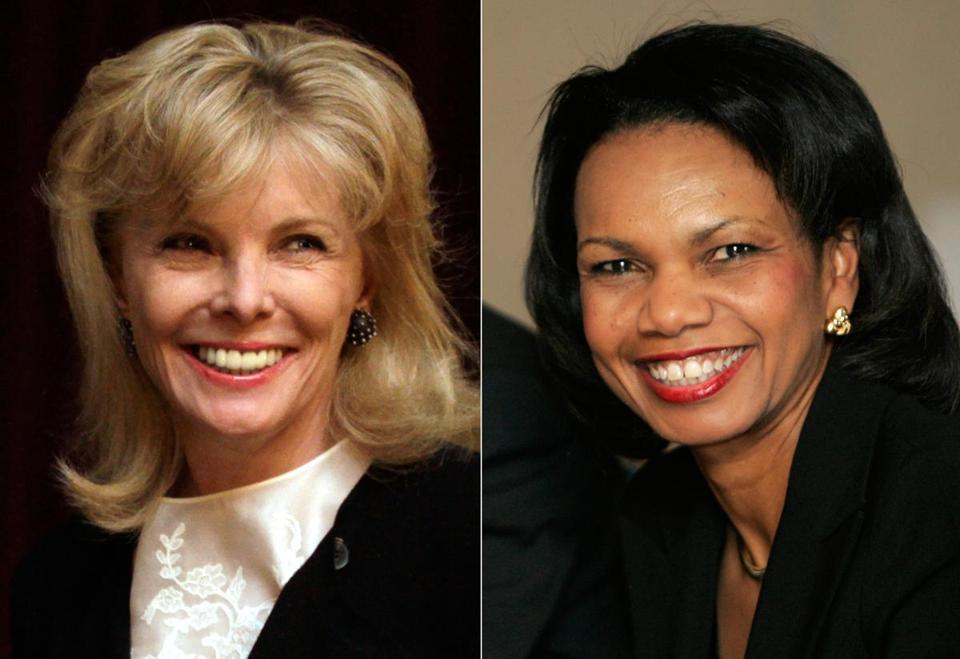 Darla Moore, left, a South Carolina financier, and former Secretary of State Condoleeza Rice are the first women members of Augusta National Golf Club.