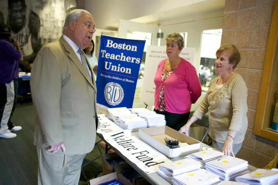 Mayor Menino greeted members of the Boston Teachers Union Health and Welfare fund at a teacher orientation in 2012.