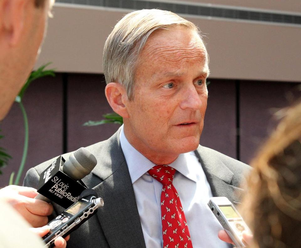 Todd Akin, Republican Senate candidate, is shown speaking to to reporters on Aug. 10.