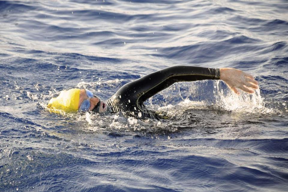 Diana Nyad, shown on Sunday, has been attempting to swim from Cuba to Florida with a shark cage.