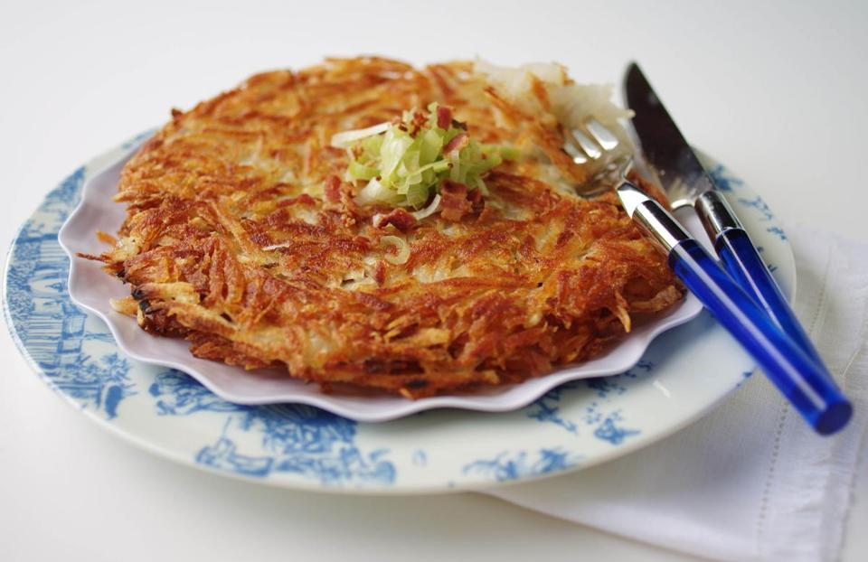 Leek, bacon, and potato roesti