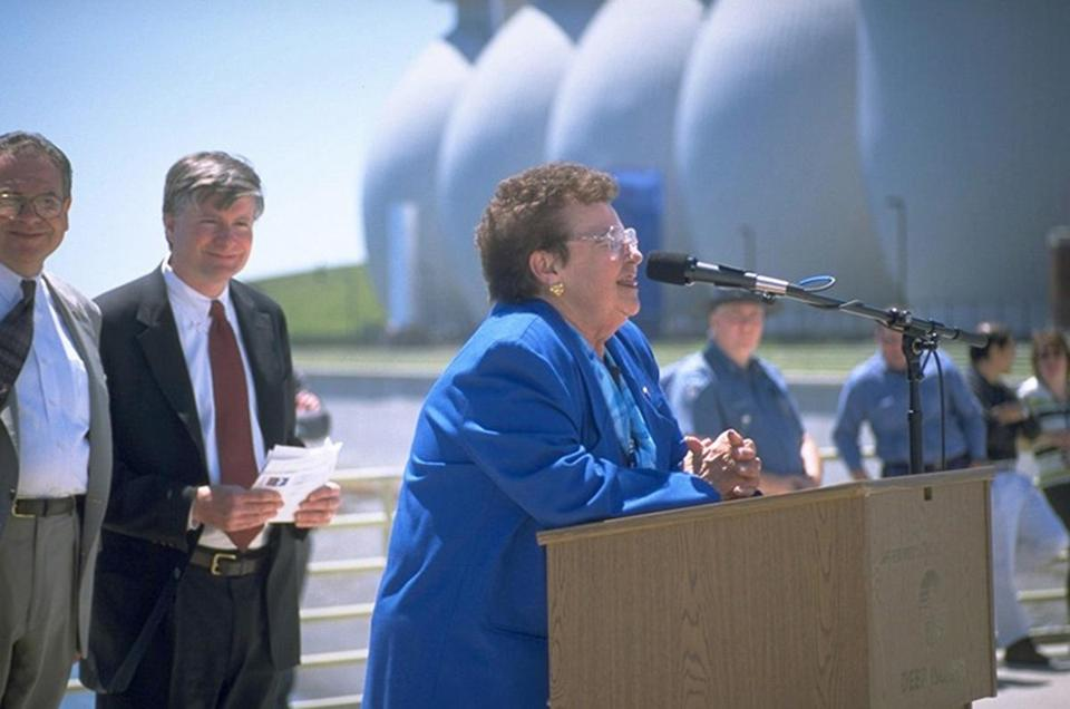Mrs. Turner (above) helped change the face of Deer Island, which now has 60 acres of open space and miles of trails.