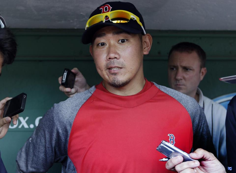Daisuke Matsuzaka spoke to reporters at Fenway Park on Wednesday.