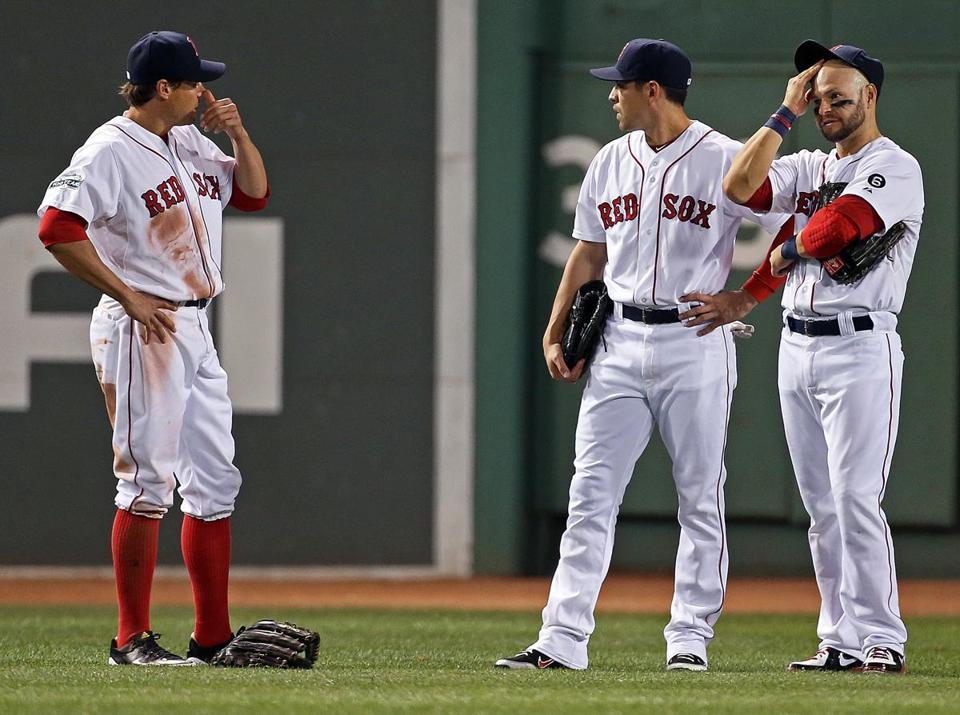 It was a long night on Tuesday for Scott Podsednik, Jacoby Ellsbury, and Cody Ross (left to right) as the Red Sox lost again.