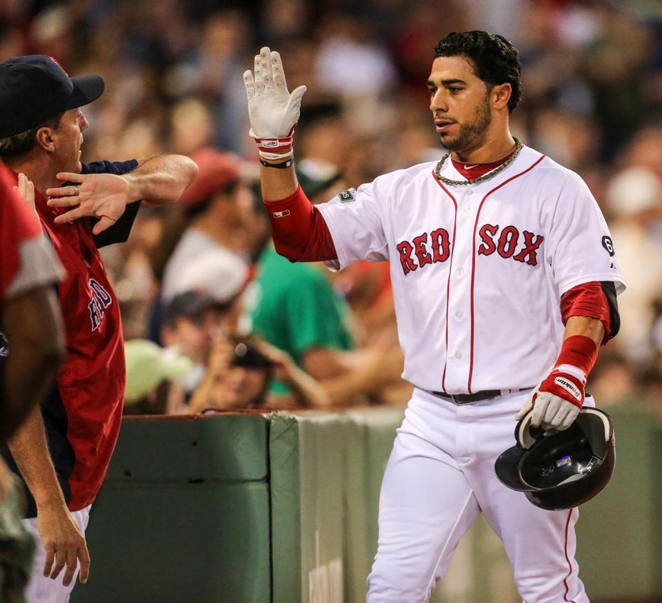 Mike Aviles  is seen after hitting a three-run home run against  the Royals at Fenway Aug. 25.