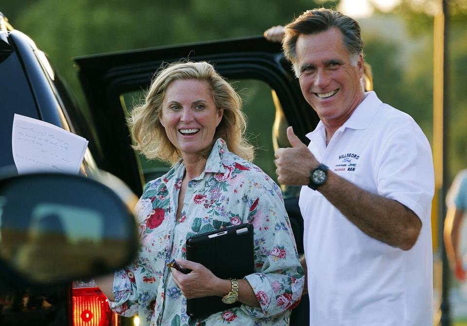 Mitt Romney and his wife, Ann, on Sunday in Wolfeboro, N.H., where they have a home.