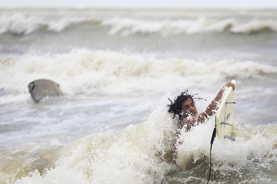 Andre Beaudette braved the surf near Park Shore Beach in Naples, Fla.